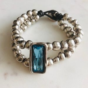 Uno De 50 Doible Strand Silver Topaz Bracelet